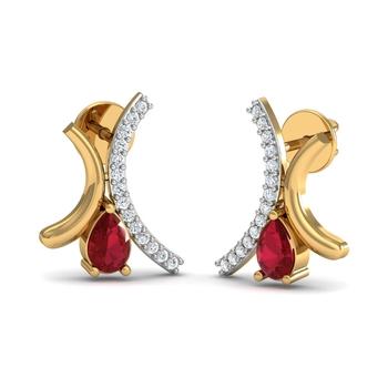 Arkina Diamond's Pear Shaped Ruby Stud Diamond Earrings