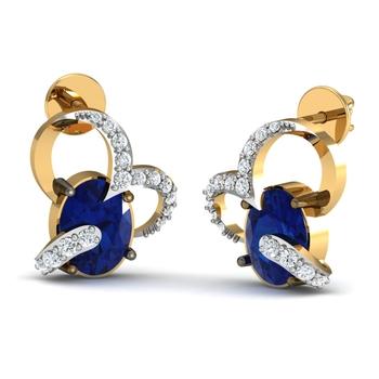 Arkina Diamond's Heart Blue Earring