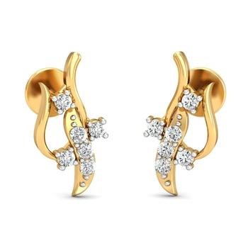 Arkina Diamond's curved lines earrings