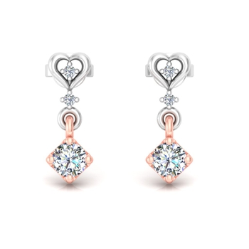Square held diamond earrings