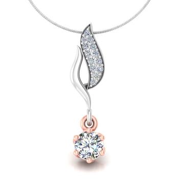 Leaf held diamond pendant