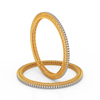 Charu Jewels Diamond Bangle Made with 37.50  Gms 18 KT Yellow Gold Gold And 9.3 Carat Diamonds