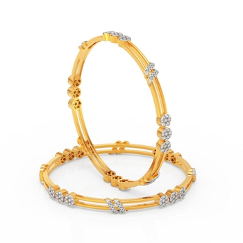 Charu Jewels Diamond Bangle Made with 29.70  Gms 18 KT Yellow Gold Gold And 3.1 Carat Diamonds