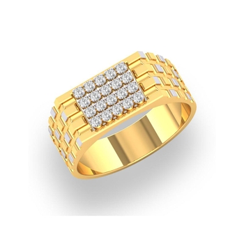 Charu Jewels Diamond Ring Made with 5.8 Gms 18 Kt Yellow Gold And 0.36 Carat Diamonds