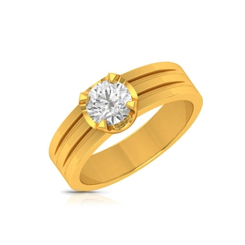 Charu Jewels Diamond Ring Made with 5.31 Gms 18 Kt Yellow Gold And 0.32 Carat Diamonds