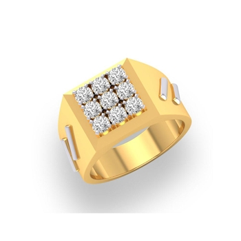 Charu Jewels Diamond Ring Made with 9.09 Gms 18 Kt Yellow Gold And 0.81 Carat Diamonds