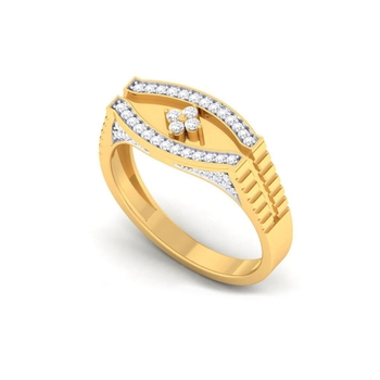 Charu Jewels Diamond Ring Made with 8.2 Gms 18 Kt Yellow Gold And 0.34 Carat Diamonds