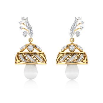 ISKI USKI The Enticing Floral Diamond Jhumki