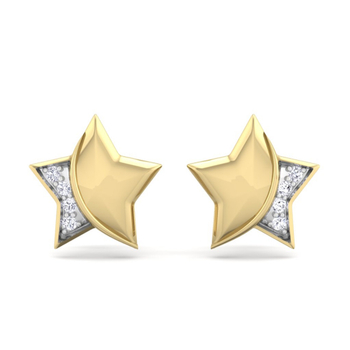 Natural Round Briiliant Cut  Diamond Stueded Star Earring