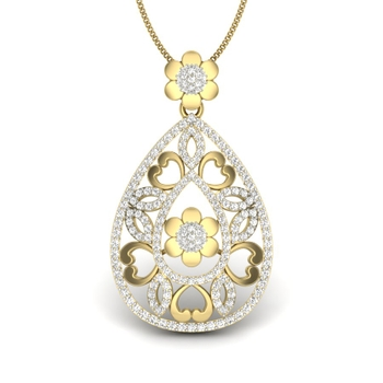 Medona Pear Shape Designer Diamonds Pendant