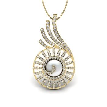 Stela Pearl With Diamonds Charm Pendant