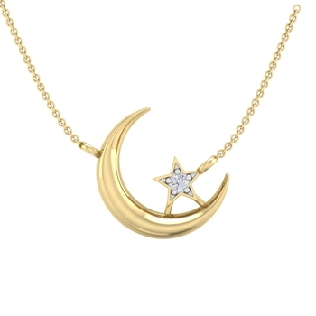 Perrian Moon And Star Prong Set Diamond Pendant Necklace
