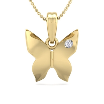 Perrian Natural Round Brilliant Cut Diamond Butterfly Pendant