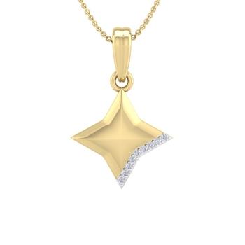 Perrian Real Natural Round brilliant Cut Diamond Prong Set Star Pendan