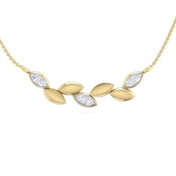 Perrian  Diamond Studded Leaf Pendant Necklace