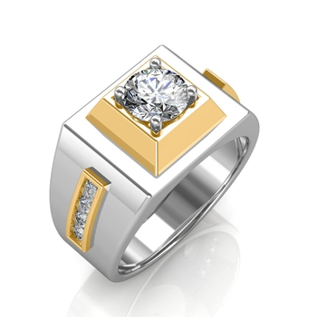 Sarvada Jewels' The Khufu Solitaire Ring For Him - White - 0.78 carat