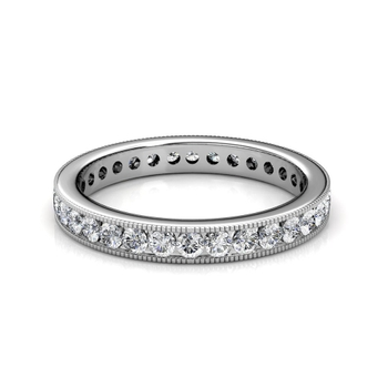 White Gold Milgrain Channel Set Diamond Full Eternity Ring - 3 cent diamonds