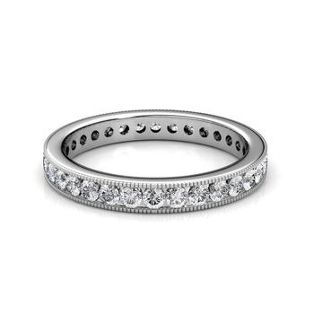 White Gold Milgrain Channel Set Diamond Full Eternity Ring - 3 cent diamonds