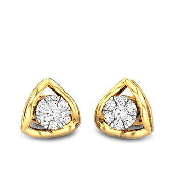 Candere by Kalyan Jewellers Yellow Gold Astra Ziah Diamond Earrings for Women (IGI Certified Diamonds)