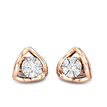 Candere by Kalyan Jewellers Rose Gold Astra Ziah Diamond Earrings for Women (IGI Certified Diamonds)