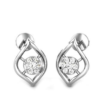 Candere by Kalyan Jewellers White Gold Cari Ziah Diamond Earrings for Women (IGI Certified Diamonds)