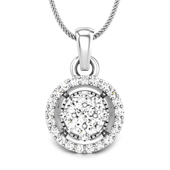 Candere by Kalyan Jewellers White Gold Auris Ziah Diamond Pendant for Women (IGI Certified)