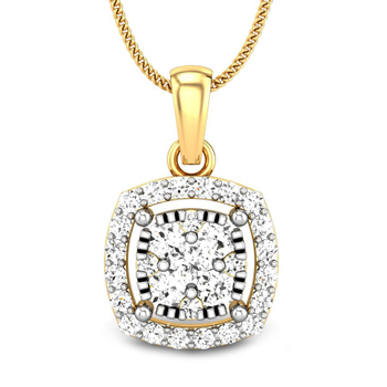 Candere by Kalyan Jewellers Yellow Gold Dalla Ziah Diamond Pendant for Women (IGI Certified)