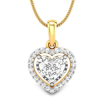 Candere by Kalyan Jewellers Yellow Gold Elaina Ziah Diamond Pendant for Women (IGI Certified)