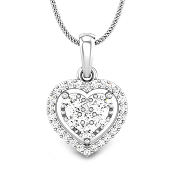 Candere by Kalyan Jewellers White Gold Elaina Ziah Diamond Pendant for Women (IGI Certified)