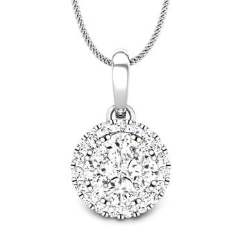 Candere by Kalyan Jewellers White Gold Haylen Ziah Diamond Pendant for Women (IGI Certified)