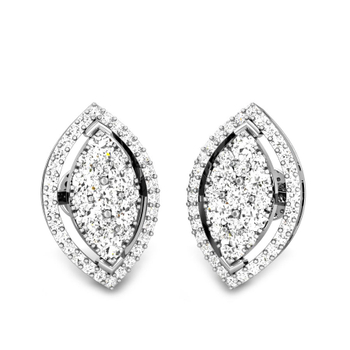 Candere by Kalyan Jewellers White Gold Kirie Ziah Diamond Earrings for Women (IGI Certified Diamonds)