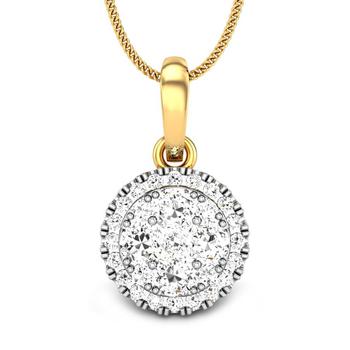 Candere by Kalyan Jewellers Yellow Gold Izarra Ziah Diamond Pendant for Women (IGI Certified)