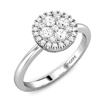 Candere By Kalyan Jewellers 14k (585) BIS Hallmark White Gold Izarra Ziah Diamond Ring (IGI Certified)