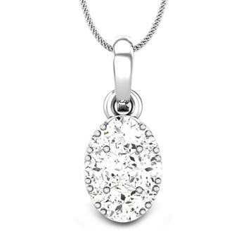 Candere by Kalyan Jewellers White Gold Zuhra Ziah Diamond Pendant for Women (IGI Certified)
