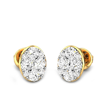 Candere by Kalyan Jewellers Yellow Gold Meira Ziah Diamond Earrings for Women (IGI Certified Diamonds)