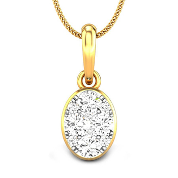 Candere by Kalyan Jewellers Yellow Gold Meira Ziah Diamond Pendant for Women (IGI Certified)