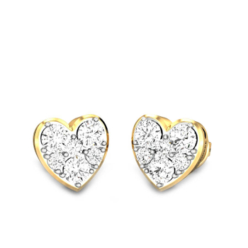 Candere by Kalyan Jewellers Yellow Gold Heart of light Ziah Diamond Earrings for Women (IGI Certified Diamonds)