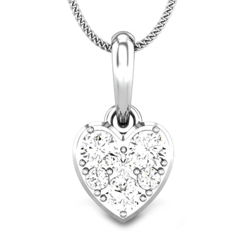 Candere by Kalyan Jewellers White Gold Heart of light Ziah Diamond Pendant for Women (IGI Certified)