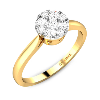 Candere By Kalyan Jewellers 14k (585) BIS Hallmark Yellow Gold Lucrecia Ziah Diamond Ring (IGI Certified)