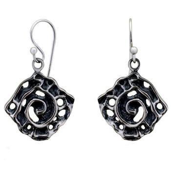 Silver Shine 92.5 Streling Silver Black Flower Silver Drop Earring For Women & Girls
