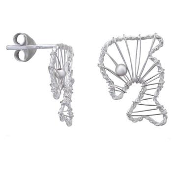 Silver Shine 92.5 Streling Silver Fish Shape Stud Earring For Women & Girls