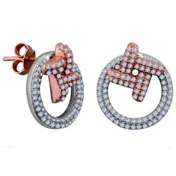 Silver Shine 92.5 Streling Silver Diamond Rose Gold Earring For Women & Girls