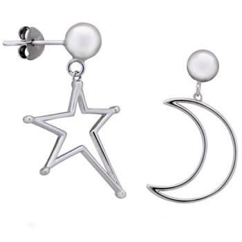 Silver Shine 92.5 Streling Silver Moon Stud Silver Earring For Women & Girls