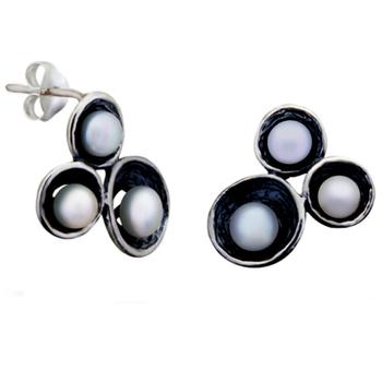 Silver Shine 92.5 Streling Silver Three Pearl Stud Earring For Women & Girls