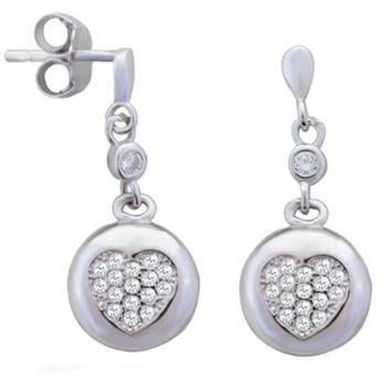 Silver Shine 92.5 Streling Silver Hanging Love Heart Earring For Women & Girls