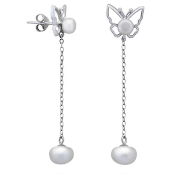 Silver Shine 92.5 Streling Silver Butterfly With Chain Silver Earring For Women & Girls
