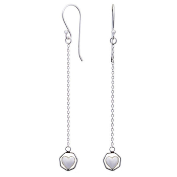 Silver Shine 92.5 Streling Silver Lover Heart Chain Earring For Women & Girls