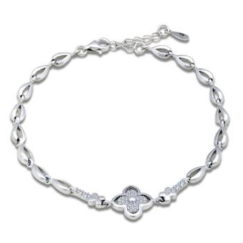 Silver Shine 92.5 Streling Silver Flower Bridal Bracelet for Women And Girls