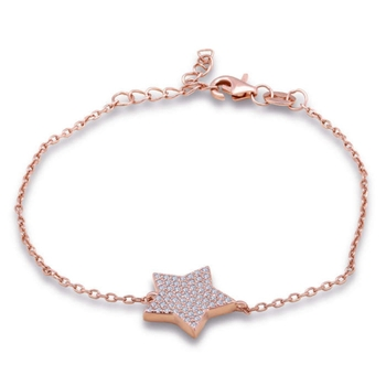 Silver Shine 92.5 Streling Silver Star Connected Rose Gold Chain Bracelet for Women And Girls
