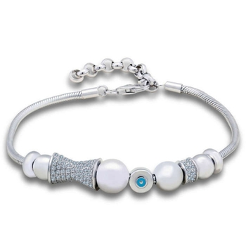 Silver Shine 92.5 Streling Silver Sterling Silver With Blue Button Bracelet for Women And Girls